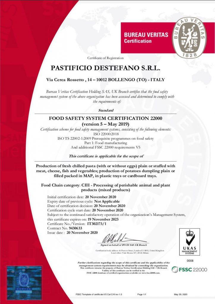 ISO 22000 FSSC - Pastificio Destefano